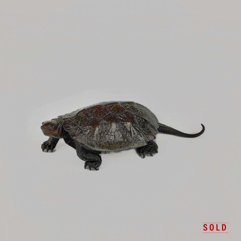 Japanese bronze turtle signed Nogami Ryūki Meiji period