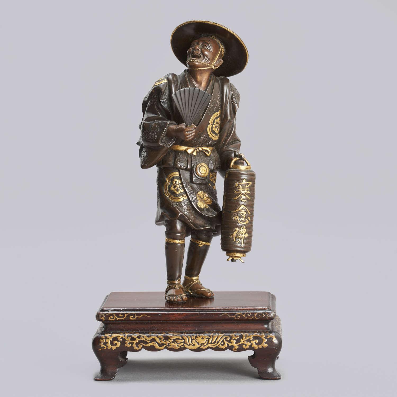 Japanese bronze watchman signed Miyao Meiji period