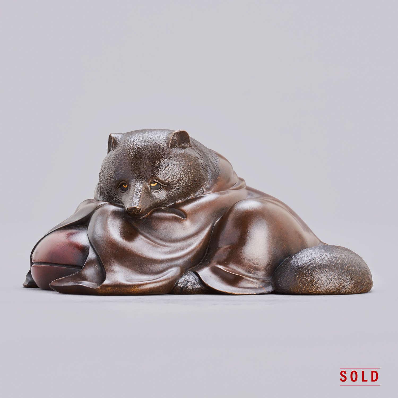 Japanese bronze Tanuki signed Hideaki Meiji period