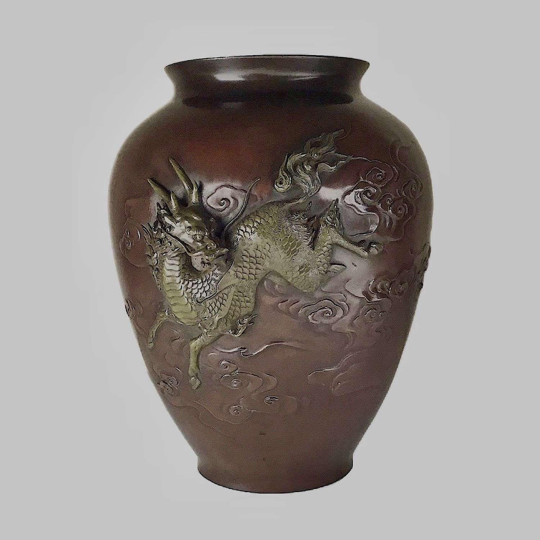 Japanese bronze vase with kirin signed Hidemitsu Meiji period