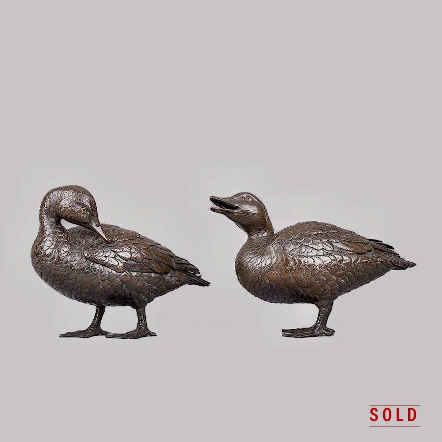 Japanese pair of bronze ducks signed Takachika Meiji period
