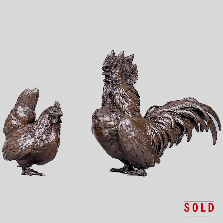 Japanese bronze rooster and hen signed Kihara Hosai Meiji period