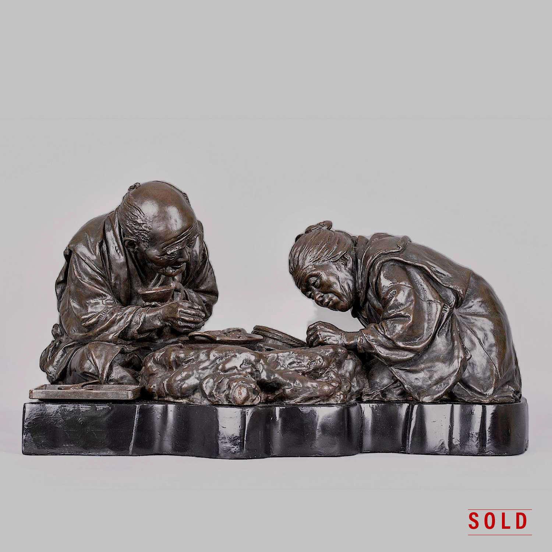 Tokyo School bronze group signed Udagawa Kazuo Meiji period