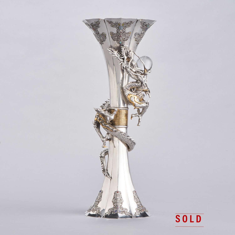 Japanese silver vase with dragon signed Ryoshu Meiji period