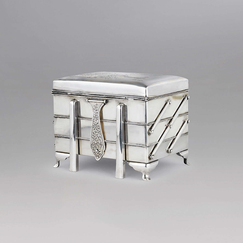 Japanese silver box signed Miyamoto Meiji period