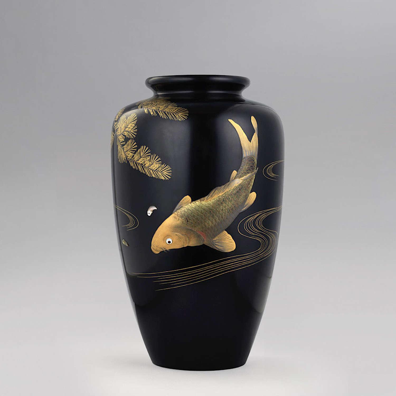 Japanese lacquer vase with a koi carp signed Zohiko Meiji period