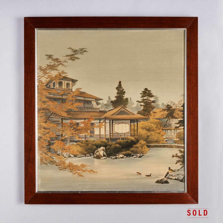 Japanese Yūzen-Birodo cut velvet of a temple Meiji period