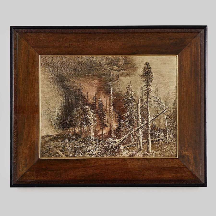 Japanese silk embroidery of a burning woodland Meiji period