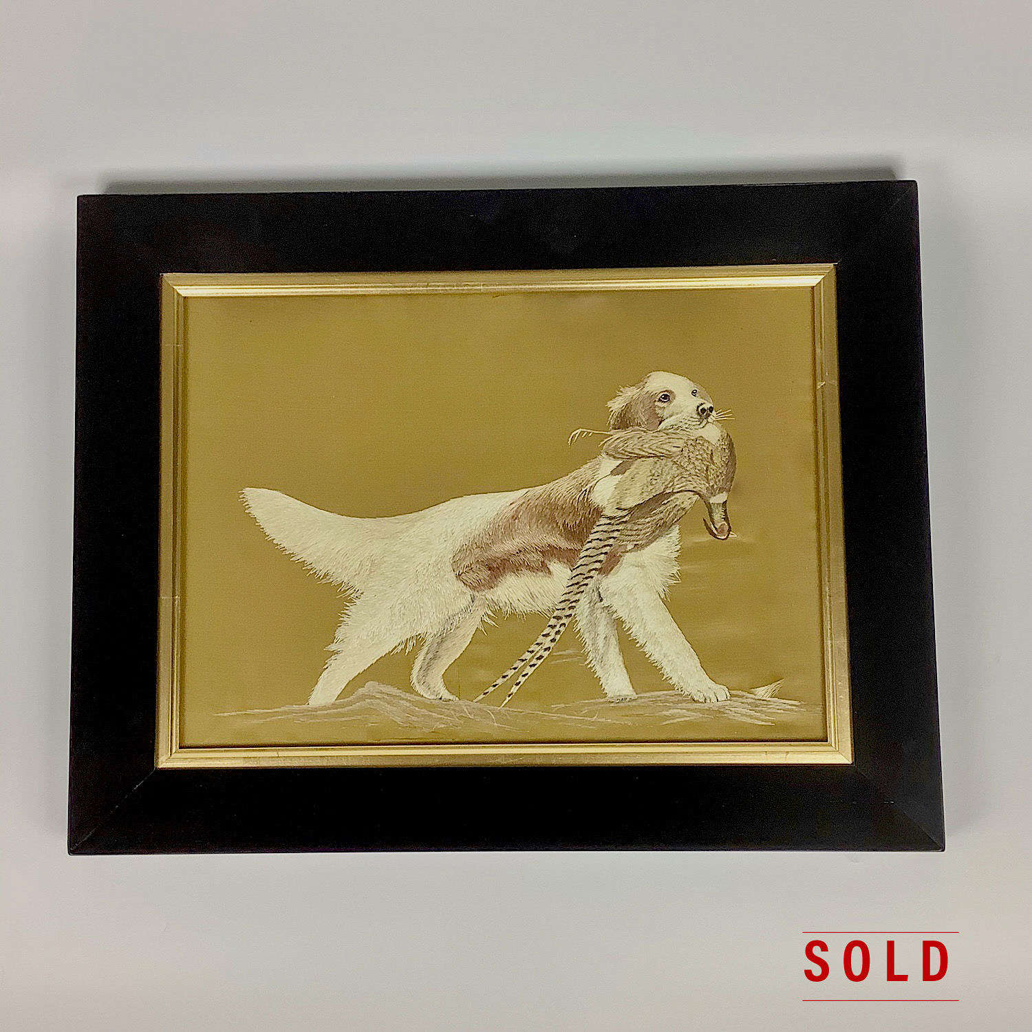 Japanese silk embroidery of a hunting dog Meiji period