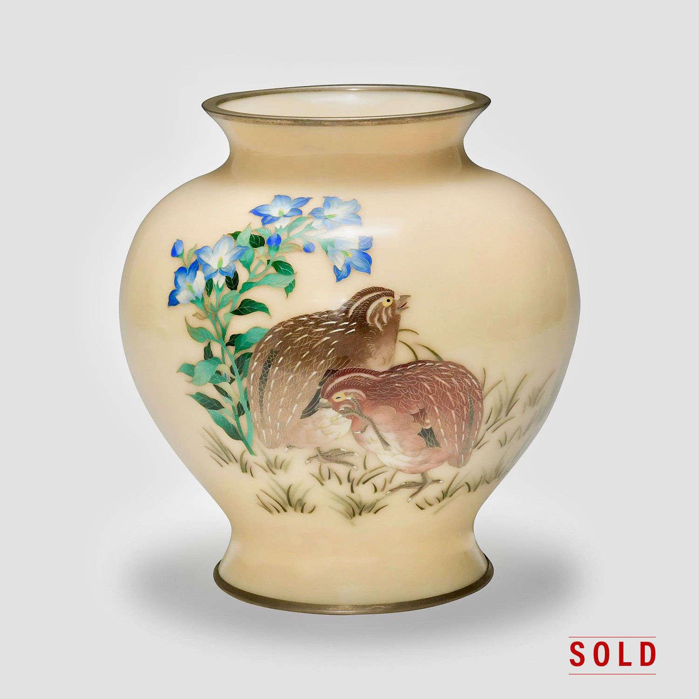 Japanese cloisonne' enamel vase signed Tamura III Shōwa period