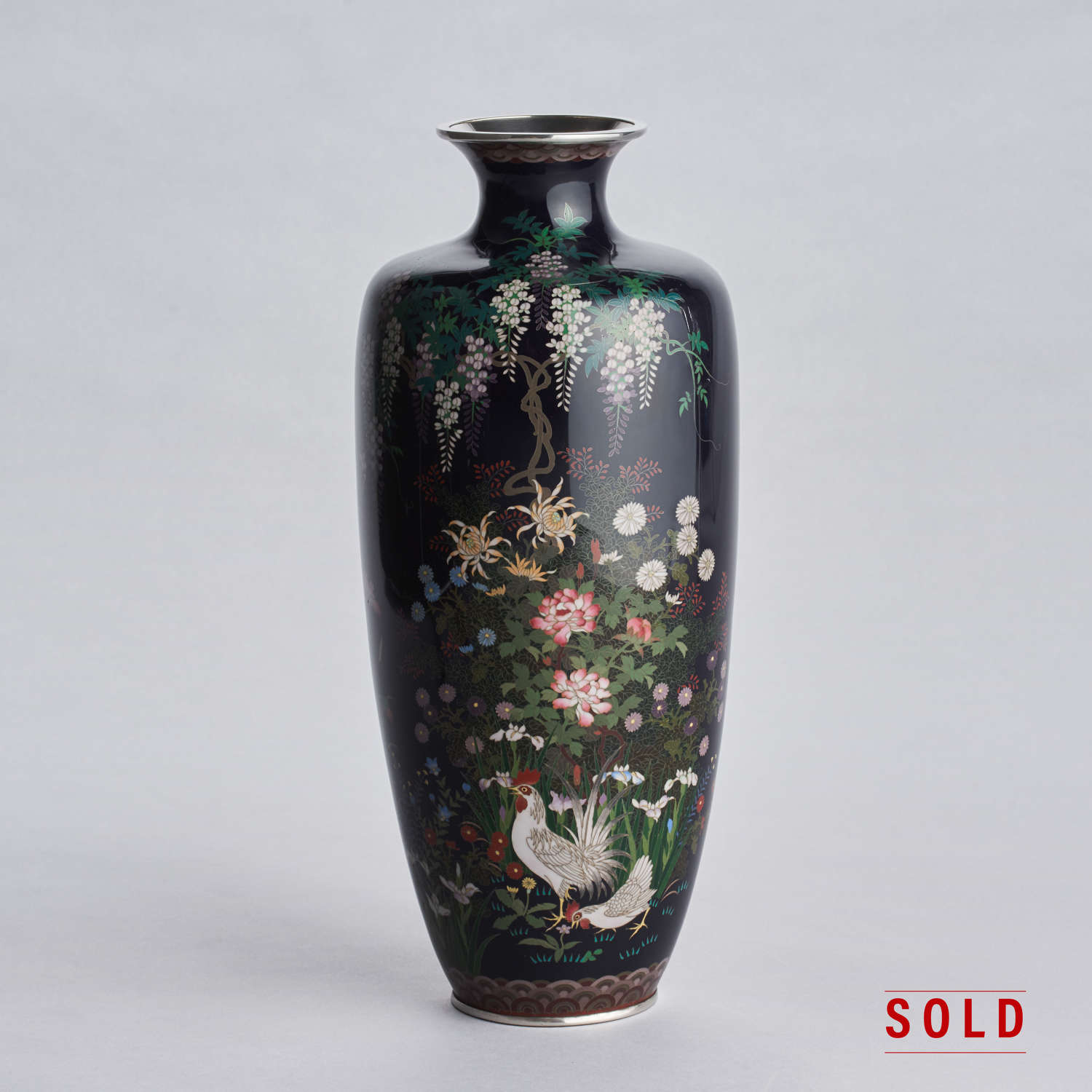 Japanese cloisonné enamel vase with rooster and hen Meiji period