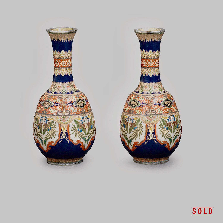 Japanese pair cloisonné enamel vases signed Kuhn & Komor Meiji period