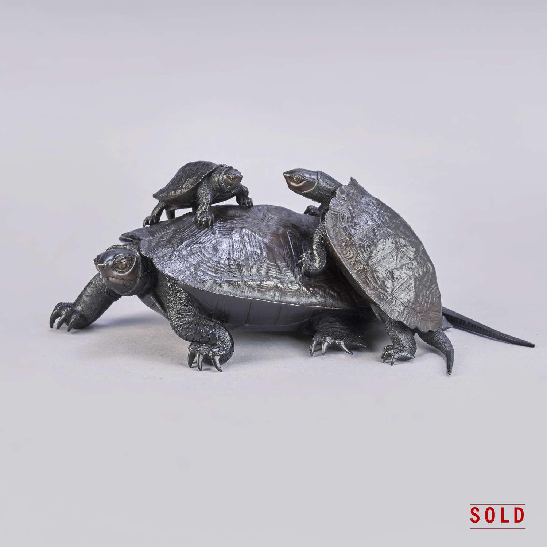 Japanese bronze turtles signed Yoshinobu Meiji period