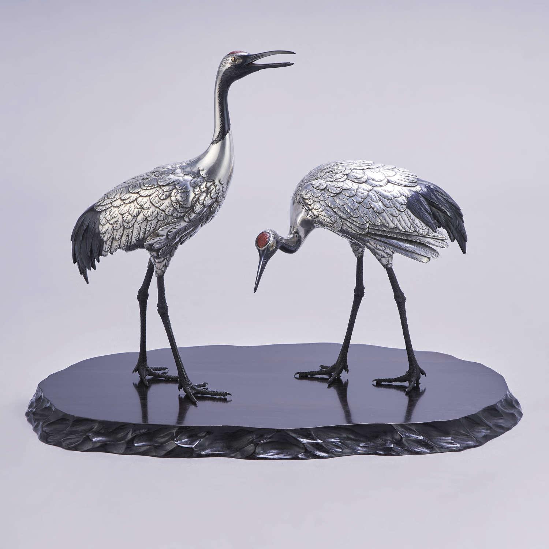 Japanese silvered bronze cranes signed Hideano Meiji period