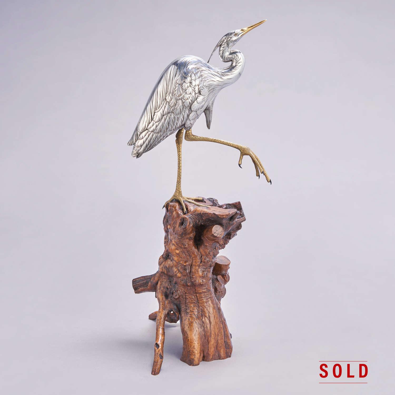 Japanese silvered bronze egret signed Masatsune Meiji period